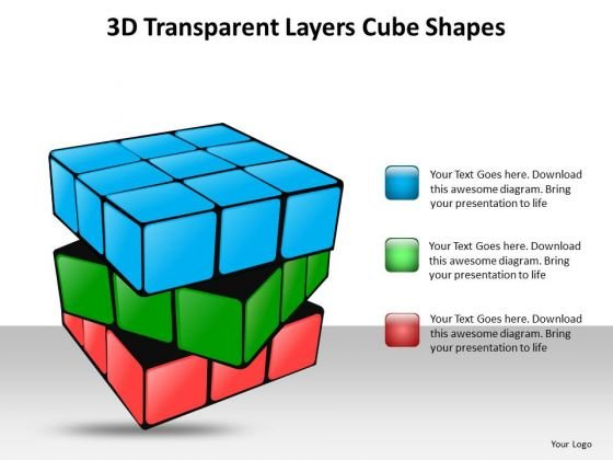 Ppt 3d Transparent And Colorful PowerPoint Presentations Layers Of Cube Templates