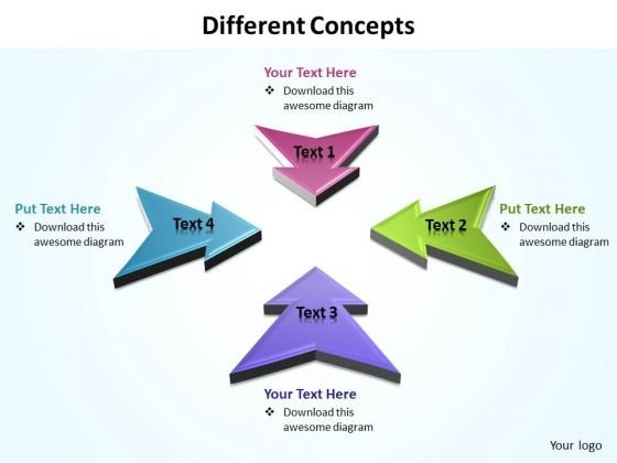 Ppt 4 Different Concepts Pointing Inwards PowerPoint Templates