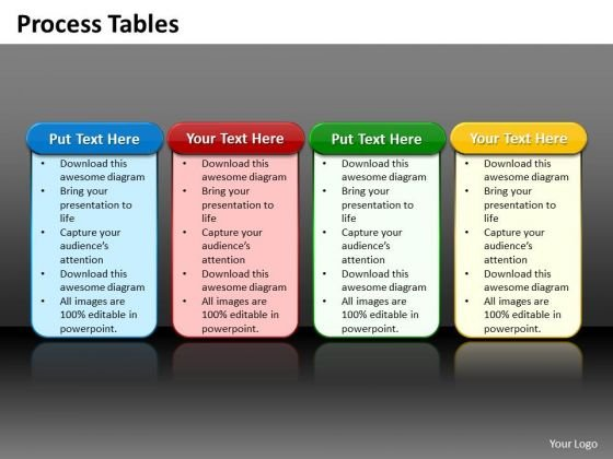 Ppt 4 Reasons You Should Buy From Us Process Tables Business PowerPoint Templates