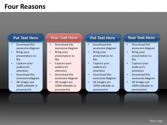Ppt 4 Reasons You Should Buy From Us Process Tables Colorful PowerPoint Templates