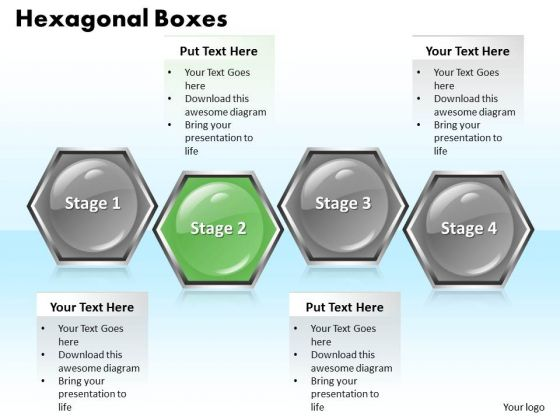 Ppt 4 Stage Hexagonal Text Link Boxes PowerPoint 2007 Templates