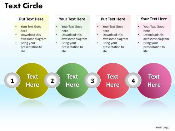 Ppt 4 Stages Rotate Text PowerPoint 2010 Unit Circle Presentation Templates