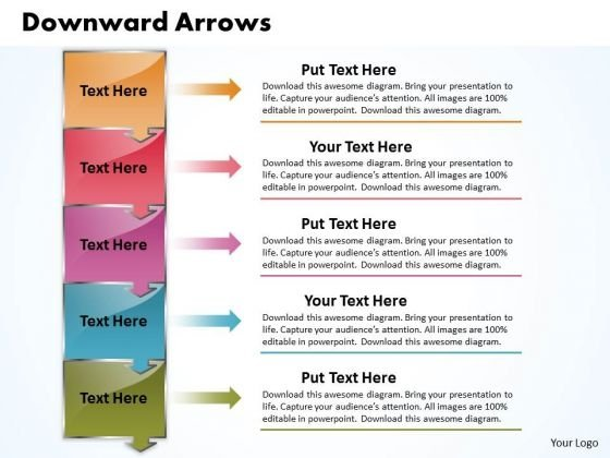 Ppt 5 Techno PowerPoint Slide Text Arrows Pointing Downwards Templates