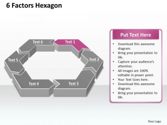Ppt 6 Aspects Hexagon Editable Layouts PowerPoint 2010 Templates