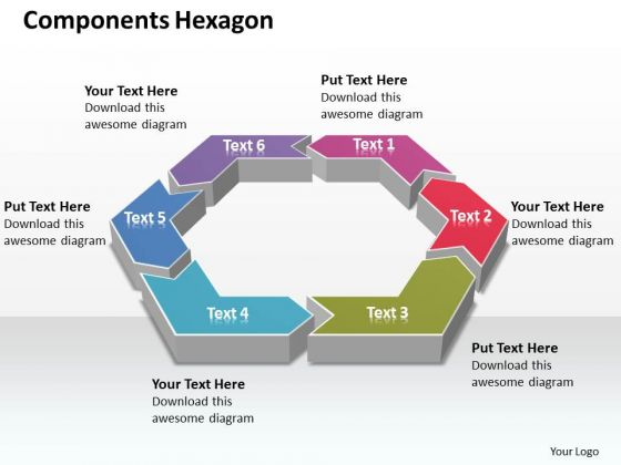 Ppt 6 Components Area Of Hexagon Editable Layouts PowerPoint 2003 Templates