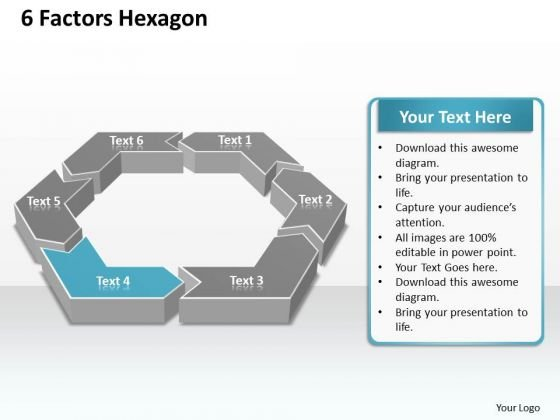 Ppt 6 Factors Hexagon Angles Editable PowerPoint Templates Theme