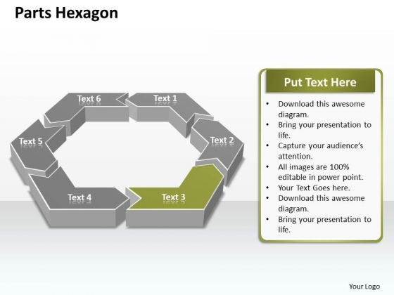 Ppt 6 Parts Hexagon Angles Editable Presentation PowerPoint Slide Text Templates