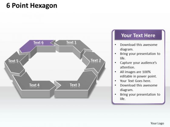 Ppt 6 Point Hexagon Editable Presentation PowerPoint Slide Text 2003 Templates
