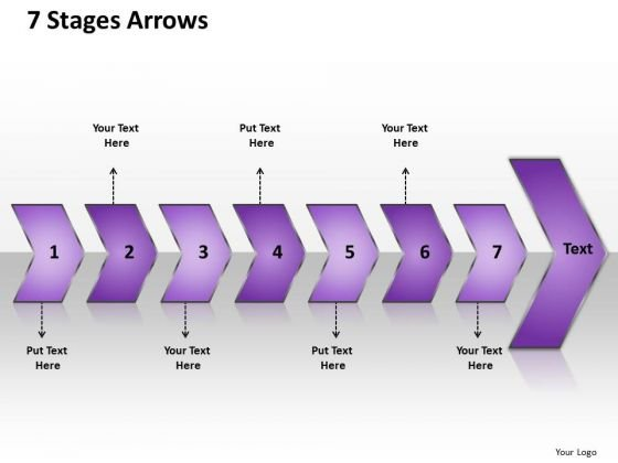 Ppt 7 Linear Curved Arrows PowerPoint 2010 Placed Sequentially Templates