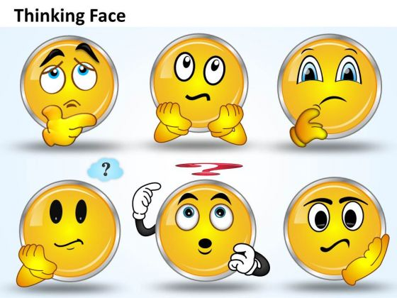 Ppt A Shiney Emoticon Thinking Face Business Management PowerPoint Templates