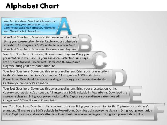 Ppt Alpahabet Chart With Textboxes Business Strategy PowerPoint Business Templates