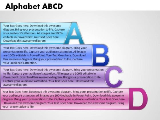 Ppt Alphabet Blocks Abcd With Textboxes Business Management PowerPoint Business Templates