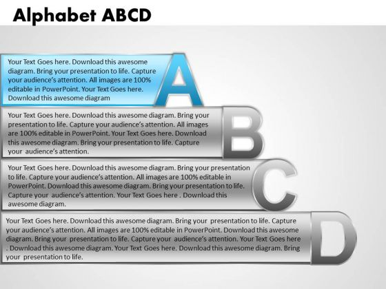 Ppt Alphabet Blocks Abcd With Textboxes Business Strategy PowerPoint Business Templates