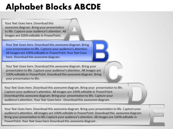 Ppt Alphabet Blocks Abcde With Textboxes Business Plan PowerPoint Business Templates
