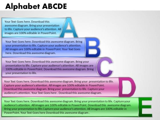 Ppt Alphabet Blocks Abcde With Textboxes Business PowerPoint Templates