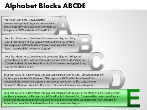 Ppt Alphabet Blocks Abcde With Textboxes Growth PowerPoint Templates
