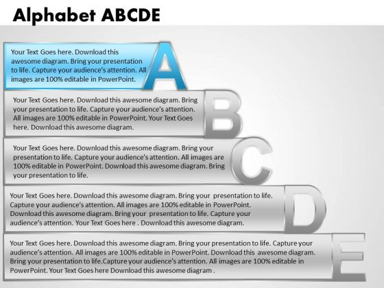 Ppt Alphabet Blocks Abcde With Textboxes Process PowerPoint Templates