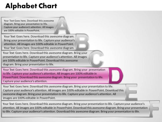 Ppt Alphabet Chart With Textboxes Business Plan PowerPoint Process Templates