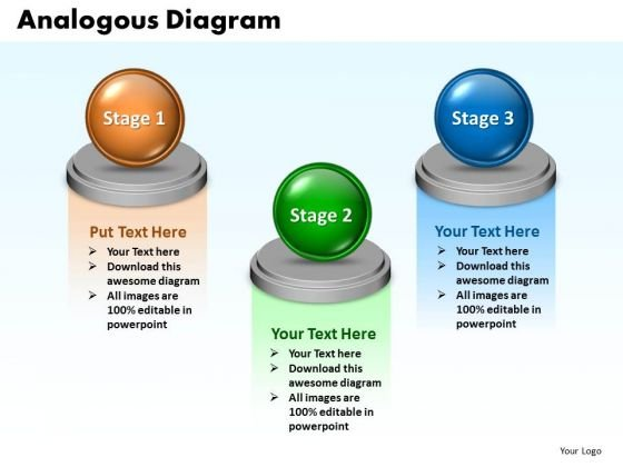 Ppt Analogous Diagram Describing 3 State PowerPoint Templates