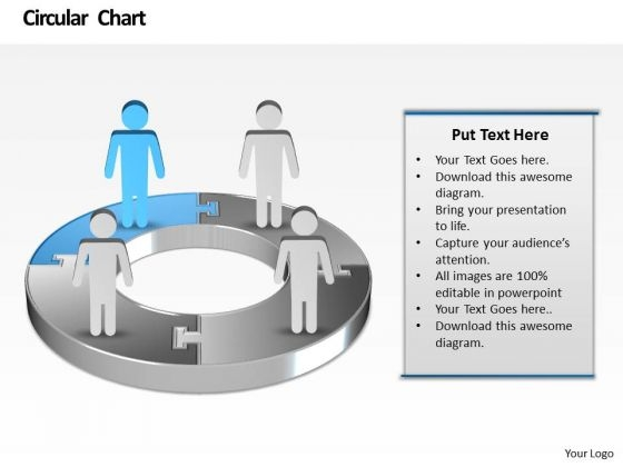 Ppt Animated Men Standing On Colorful Pie Chart Presentation