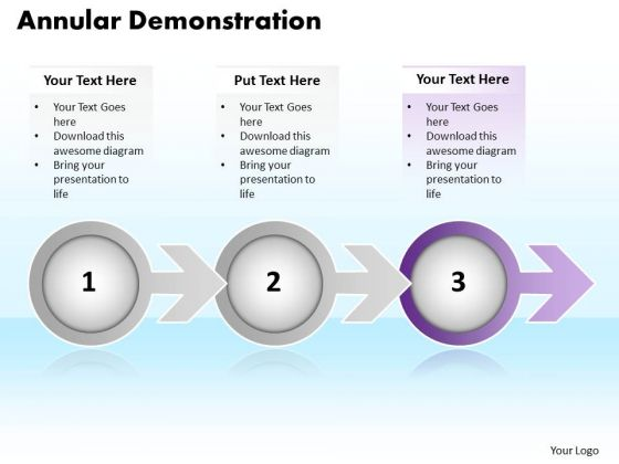 Ppt Annular Demonstration Of 3 Power Point Stage Using Arrow PowerPoint Templates