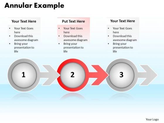 Ppt Annular Example Of 3 Stages Using Arrow PowerPoint Templates
