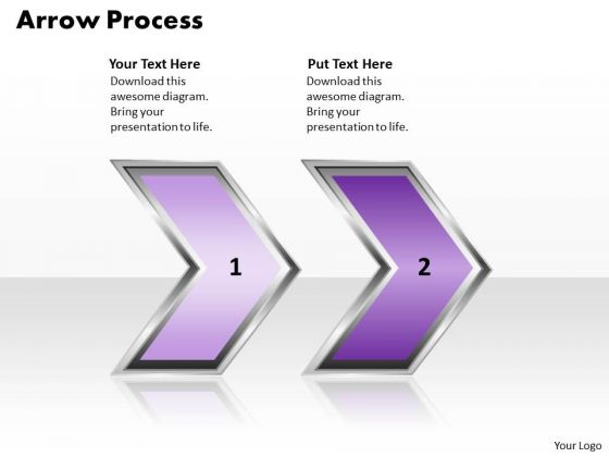 Ppt Arrow Description Of 2 Power Point Stage Action PowerPoint Templates