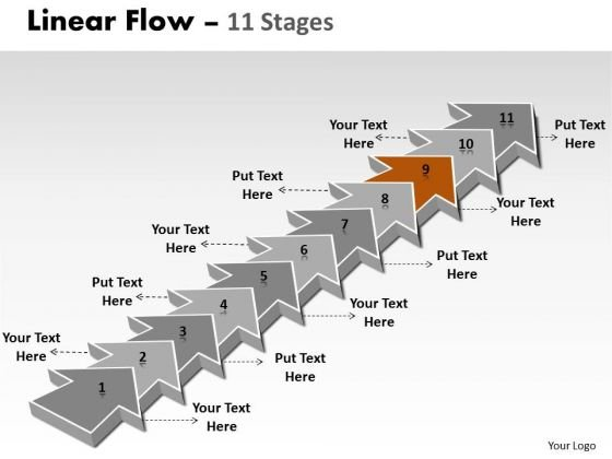 Ppt Background 11 Steps Straight Line Linear Arrows PowerPoint Slide Text Process 10 Graphic