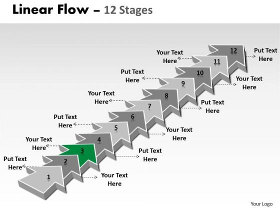 Ppt Background 12 Stages Linear 3d Arrows PowerPoint To Create Transactions Plan 4 Graphic