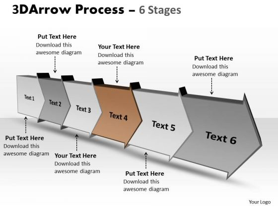 Ppt Background 3d Illustration Of Six Step Arrow Course 5 Design