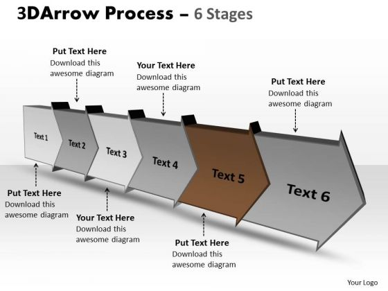 Ppt Background 3d Illustration Of Six Step Arrow Course 6 Design