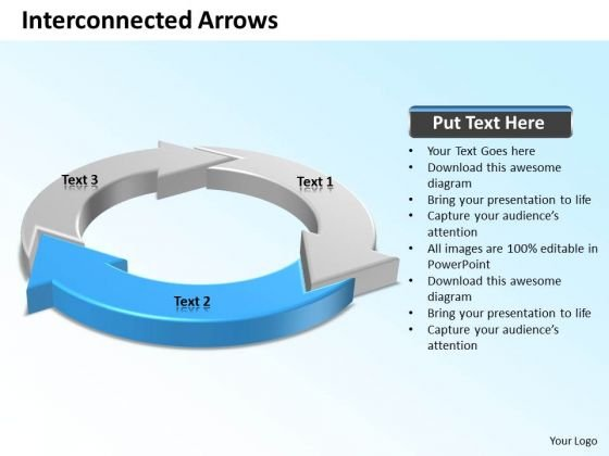 Ppt Blue Arrow Pointer Inwards Circle PowerPoint Templates