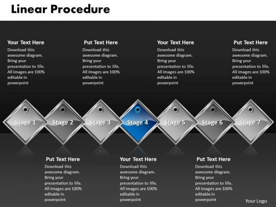 Ppt Blue Diamond Linear Procedure 7 State PowerPoint Template Diagram Templates