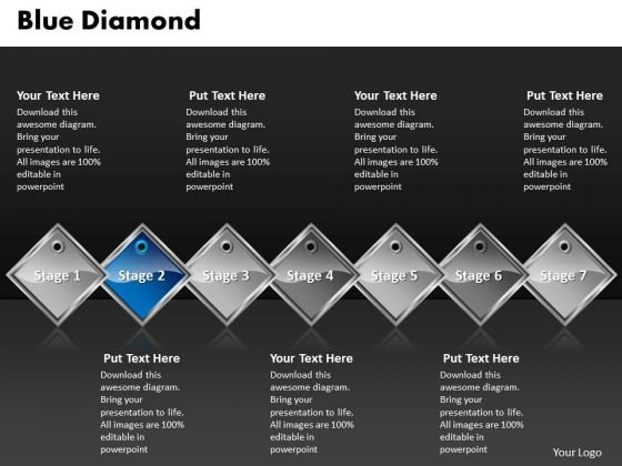 Ppt Blue Diamond Linear Series 7 Power Point Stage PowerPoint Templates