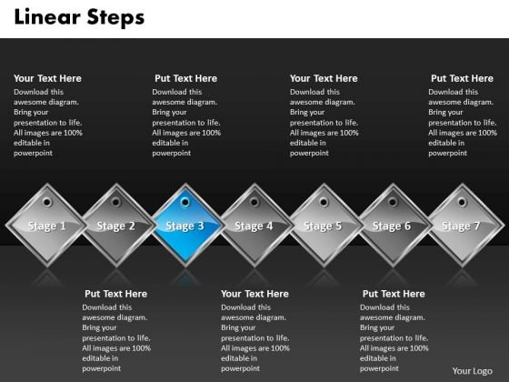 Ppt Blue Diamond Linear Steps Working With Slide Numbers 7 Phase Diagram PowerPoint Templates