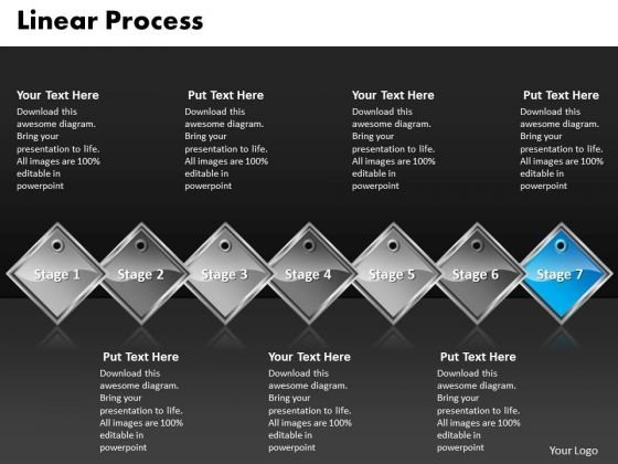 Ppt Blue Diamond Linear Writing Process PowerPoint Presentation 7 Stages Templates