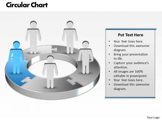 Ppt Blue Men Standing On Business Pie Organization Chart PowerPoint Template Templates