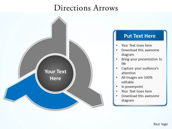 Ppt Blue PowerPoint Template Text Direction 2010 Arrow Smartart Templates