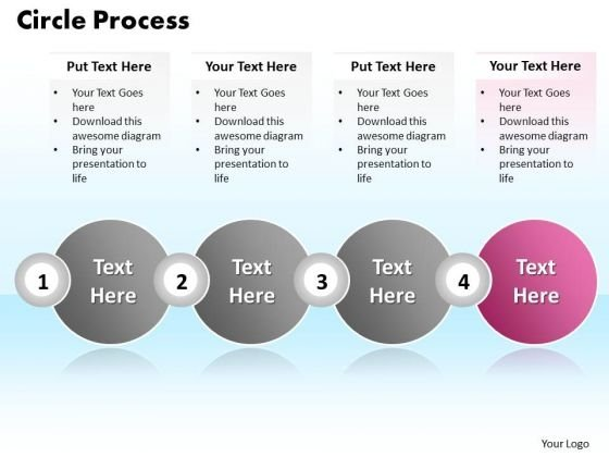 Ppt Circle Process Using Text Align Boxes PowerPoint 2010 4 Stages Templates