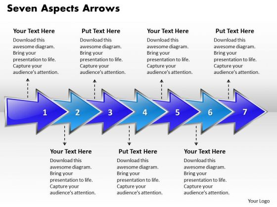 Ppt Circular Arrows PowerPoint 2010 Describing Seven Aspects Templates
