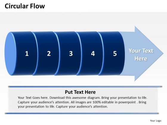 Ppt Circular Motion PowerPoint Flow Of 5 Steps Involved Development Templates