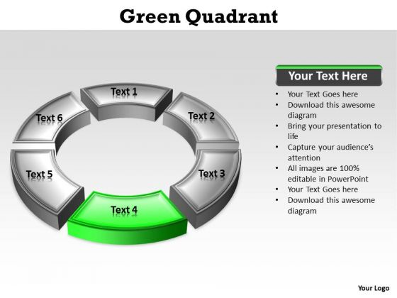 Ppt Circular PowerPoint Menu Template Description Green Stage Templates
