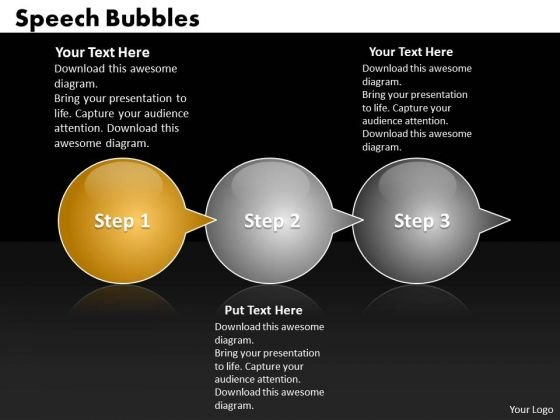 Ppt Circular Process Bubbles Horizontal 3 Practice The PowerPoint Macro Steps Templates