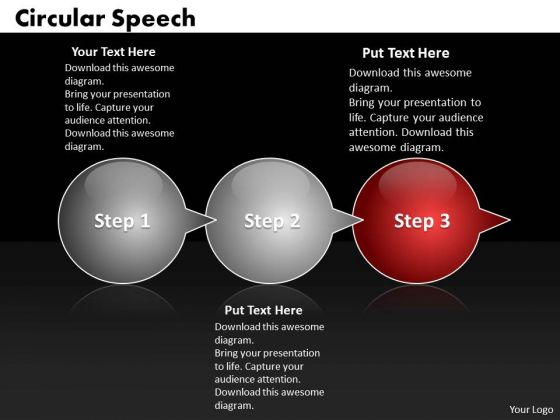 Ppt Circular Speech Bubbles Horizontal 3 PowerPoint Slide Numbers Templates