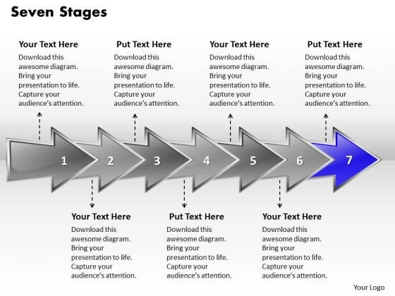Ppt Colorful Arrows PowerPoint 2010 Describing Seven Stage Templates