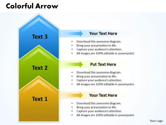 Ppt Colorful Curved Arrows PowerPoint 2010 Pointing Upwards Templates