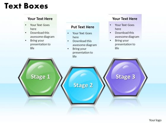 ppt colorful hexagonal text align boxes powerpoint 2010 3 process