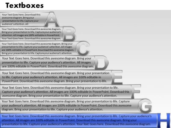 Ppt Colorful PowerPoint Presentations Textboxes With Alphabets Abcdefgh Chart Templates