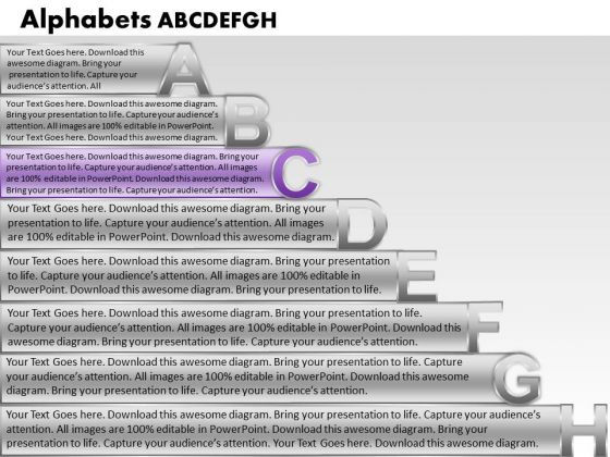 Ppt Colorful PowerPoint Presentations Textboxes With Alphabets Abcdefgh Growth Templates