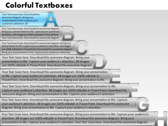 Ppt Colorful PowerPoint Presentations Textboxes With Alphabets Abcdefgh Process Templates